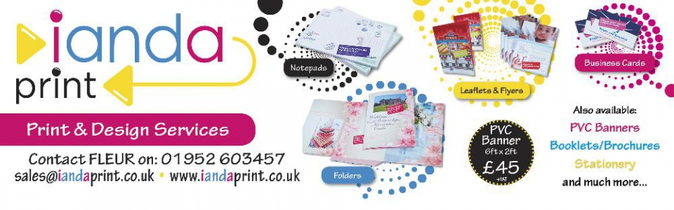 Print and Design Services NOW available - please call for more details.... 01952 603457